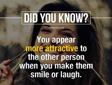 appear more attractive to other person by telling funny things